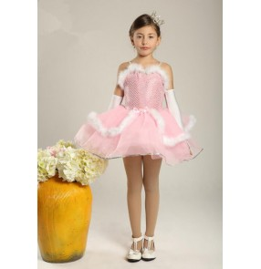 Kids girls pink white feather leotard tutu ballet dance dress vestdios