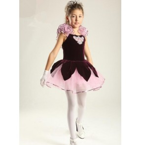 Kids girls purple velvet ballet dance dress tutu skirt skating dress