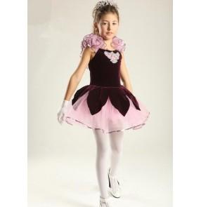 Kids girls purple velvet ballet dance dress tutu skirt skating dress