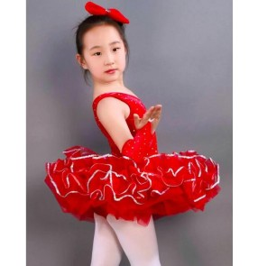 Kids girls red leotard tutu skirt ballet dance dress