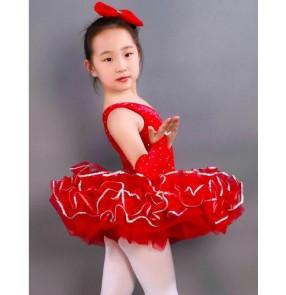 Kids girls red leotard tutu skirt ballet dance dress