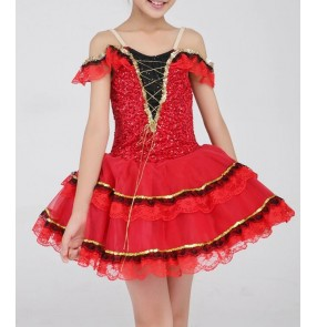 Kids girls red sequined leotard tutu skirt ballet dancing dress