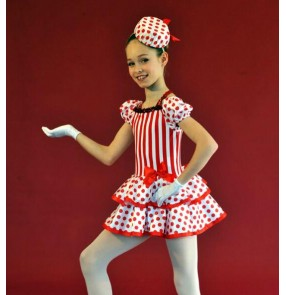 KIds girls red striped polka dot sequin ballet dance dress tutu leotard skirt