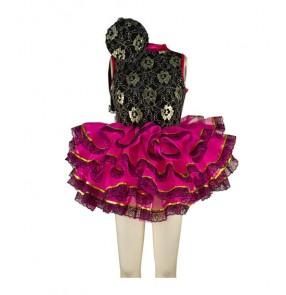 Kids girls ruffles leotard tutu skirt ballet dance dress black and fuchsia