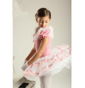 Kids girls sequined feather leotard tutu skirt ballet dance dress
