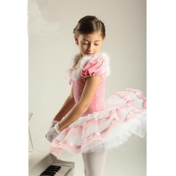 ca39bcdf6 Kids girls sequined feather leotard tutu skirt ballet dance dress