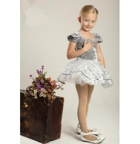 Kids girls silver white patchwork leotard skirt tutu ballet dance dress skating dress