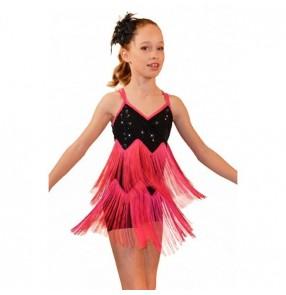 Kids girls tassel leotard tutu skirt ballet dancing dress
