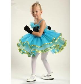 Kids girls turquoise sequined leotard tutu skirt ballet dancing dress skating dress