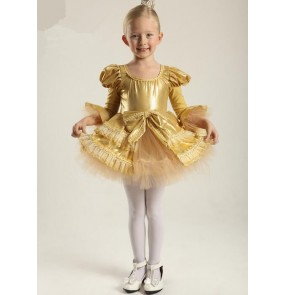 Kids girls velvet gold organza leotard tutu skirt ballet dance dress skating dress