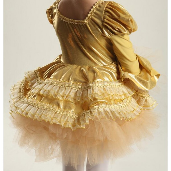 6fe7ae690 Kids girls velvet gold organza leotard tutu skirt ballet dance dress ...