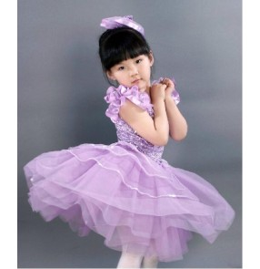 Kids girls violet leotard tutu skirt ballet dance dress custom size