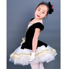 Kids girls white black patchwork sequined leotard tutu skirt ballet dancing dress
