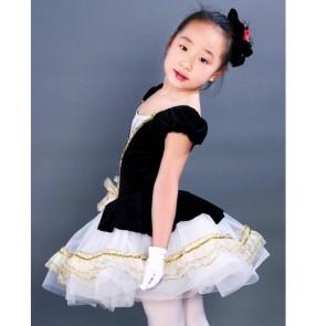 Kids girls white black patchwork sequined leotard tutu skirt ballet dancing dress