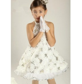 Kids girls white lace floral sequined tutu skirt ballet dance dress