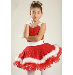 Kids girls white red tutu leotard skirt ballet dance dress