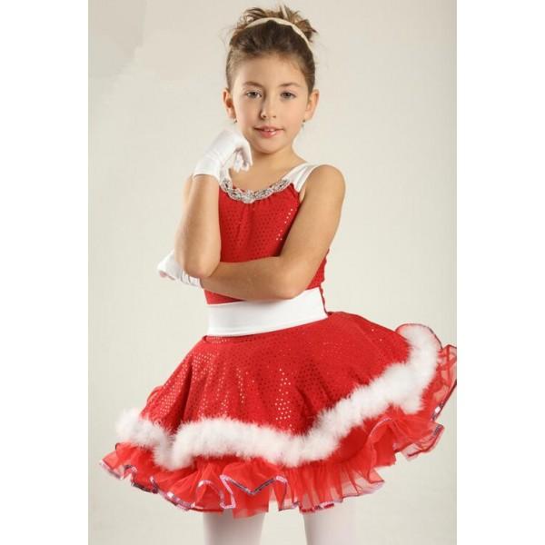 b4977be16875 Kids girls white red tutu leotard skirt ballet dance dress