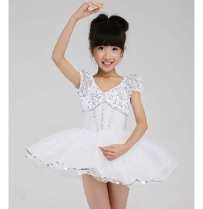 Kids Girls white sequin leotard tutu skirt ballet dance dress
