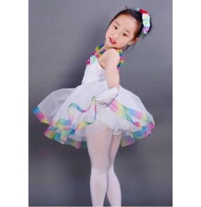 Kids girls white tutu skirt ballet dance dress