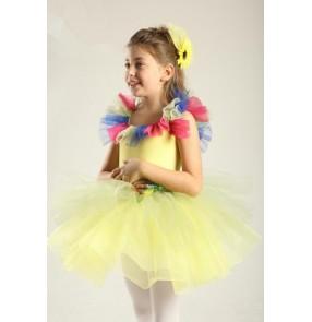 Kids girls yellow layers leotard tutu skirt ballet dance dress