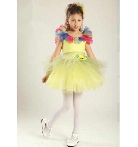 54f805f0e3c1 Kids girls yellow layers leotard tutu skirt ballet dance dress