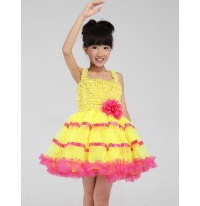 Kids girls yellow red patchwork leotard tutu skirt ballet dancing dress