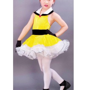 Kids girls yellow sequined tutu skirt ballet dance dress