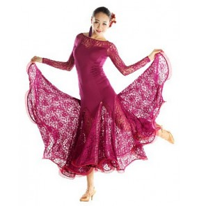 Lace Ballroom Dance Dress Women Ballroom Dancing Dress Waltz Dance Dress Tango