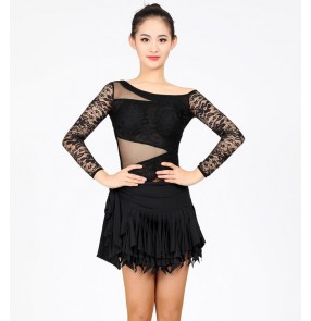 Lace mesh fabric patchwork black purple red long sleeves sexy women's ladies competition performance latin salsa cha cha leotards tops with ruffles skirts outfits