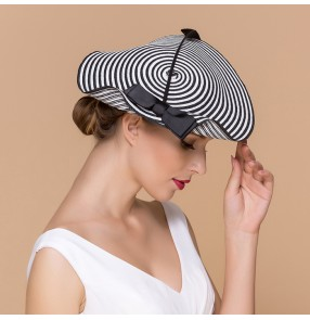 Ladies Church Feather Pillbox Hat Wedding Bridal straw Fascinators stripe