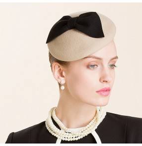 Lady's female black bowknot khaki 100% wool fedoras wedding party pillbox socialite hat