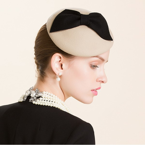 c290172cf4e9e Lady s female black bowknot khaki 100% wool fedoras wedding party pillbox  socialite hat