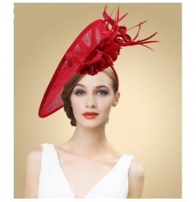 Lady's Mini Hat Hair Clip Feather Rose Top Cap Lace  Costume Accessory red wedding hat