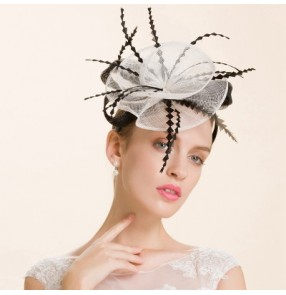 Lady's sinamay  ivory fascinators wedding party pillbox hat
