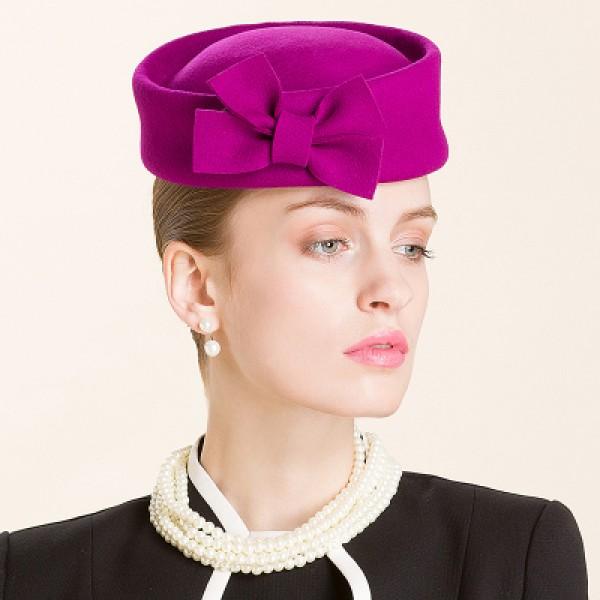 a008041962f58 Lady s women s purple black bowknot top pillbox hat 100% wool handmade party  fedoras