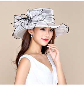 Large brim dress organza Hats Church hats,Melbourne cup,wedding kentucky derby hat white