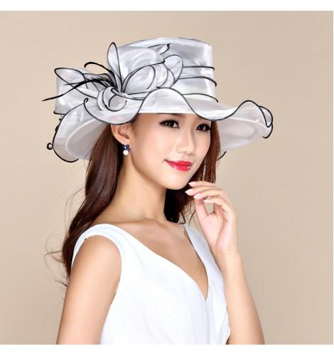 Large Brim Dress Organza Hats Church Hatsmelbourne Cupwedding Kentucky Derby Hat White
