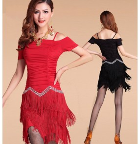 Latin dance dancing costume women milk silk tassel diamond latin dance dress salsa dance dress
