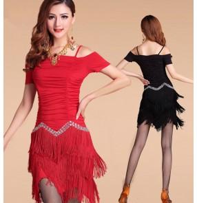 Latin dance dancing costume women milk silk tassel diamond latin dance dress salsa dance dress