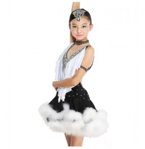 Latin Dance Dress Children With Hand sewing Stone Girls Dance Dress Kids Ballroom Dance Competition Rumba/Cha Cha/Tango Dresses