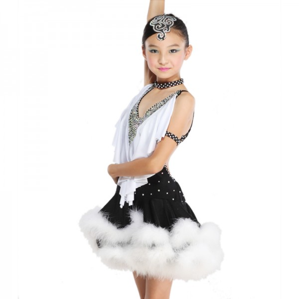 1f8732798 Latin Dance Dress Children With Hand sewing Stone Girls Dance Dress Kids Ballroom  Dance Competition Rumba/Cha Cha/Tango Dresses