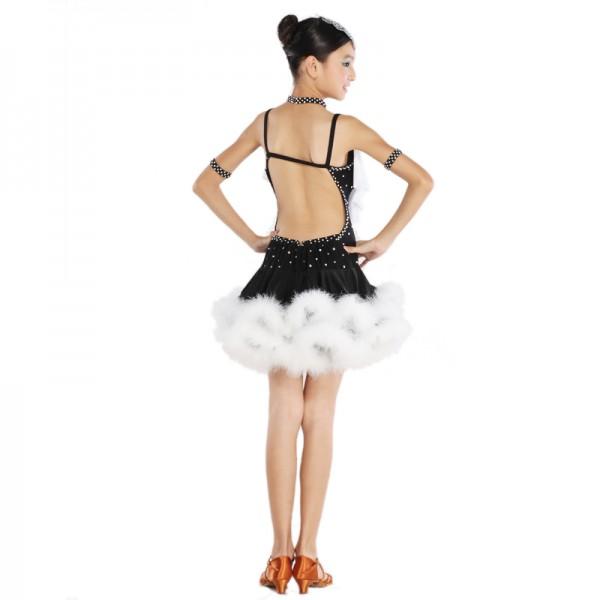 ab1f1e3255f6 Latin Dance Dress Children With Hand sewing Stone Girls Dance Dress Kids  Ballroom Dance Competition Rumba/Cha Cha/Tango Dresses