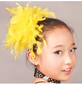 Latin dance headdress feather headdress flower