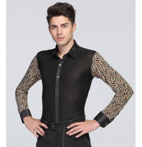 Leopard and black patchwork long sleeves turn down collar male men's man competition performance professional latin ballroom waltz tango dance tops shirts