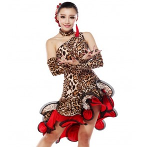Leopard Latin Dance Dress Women Competition Ballroom Dance Dress Latin Salsa Dresses Rumba Dress Fringe Dance Clothes Vestidos