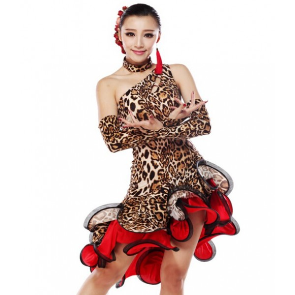 2237aa9b434b Leopard Latin Dance Dress Women Competition Ballroom Dance ...