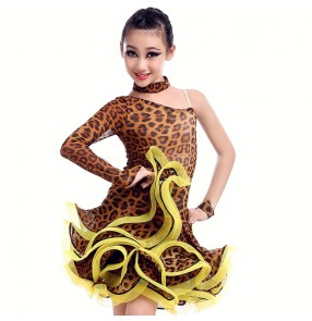Leopard polka dot Children Latin Dance Dress Girls Cha Cha Rumba modern ballroom dancing dress