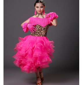 Leopard printed fuchsia colored rhinestones competition professional girls kids child children swing hem ballroom dance dresses