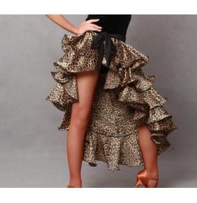 Leopard zebra black red women's irregular cake layers hip scarf latin dance skirts ballroom salsa cha cha exercises  dance skirts