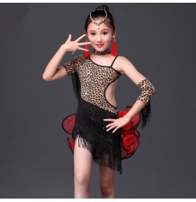 Leopard zebra patchwork one shoulder backless girls kids child children toddlers gymnastics rhinestones competition professional latin samba salsa cha cha dance dresses with shorts and choker gloves